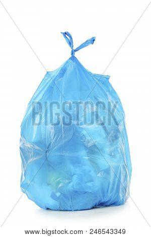 Blue Trash Bag Isolated On White Background