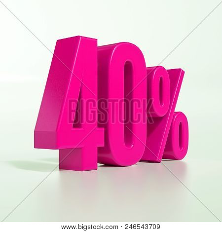 3d Illustration Pink 40 Percent Discount Sign, Sale Up To 40, 40 Sale, Pink Percentages Special Offe
