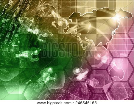 Mans With Map - Abstract Computer Background, Toned.