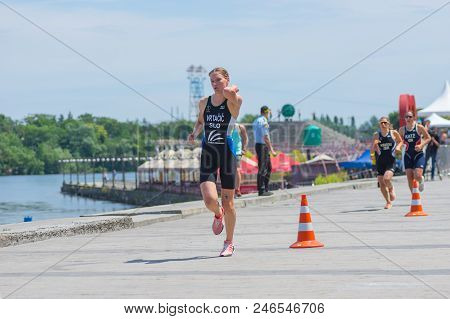 Dnipro, Ukraine - June 03, 2018:winner (tjasa Vrtacic, Slovenia) Competing At The Womens Race During