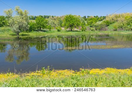 May Landscape With Suha Sura River In Vasylivka Village Near Dnepr City, Central Ukraine