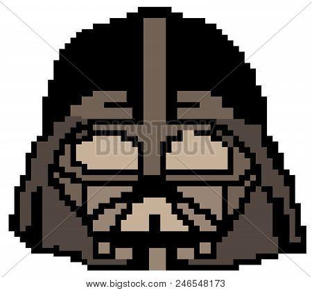 Darth Vader Drawn In Pixels Vector Eps10