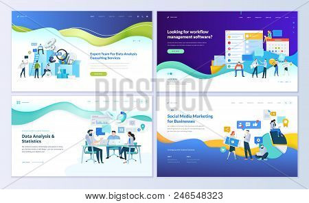 Set Of Web Page Design Templates For Data Analysis, Management App, Consulting, Social Media Marketi