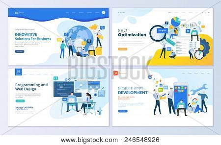 Set Of Web Page Design Templates For Seo, Mobile Apps, Business Solutions. Modern Vector Illustratio