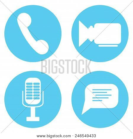 Icon Set Video And Audio Mic, Speech Bubble And Phone. Symbol For Messenger Or Video Communication A