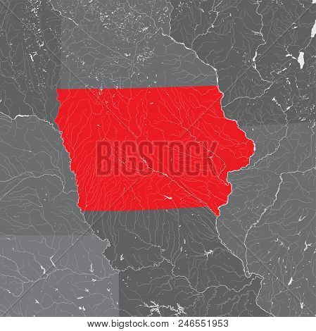 U.s. States - Map Of Iowa. Hand Made. Rivers And Lakes Are Shown. Please Look At My Other Images Of