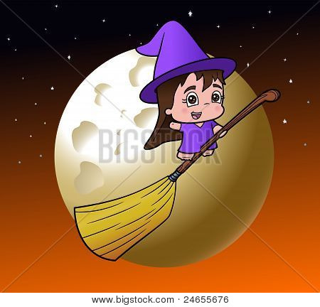 Cute Witch Girl on a Broom
