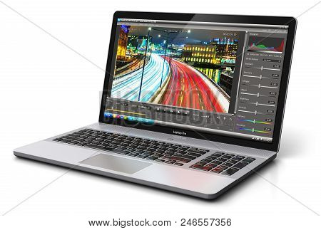 Creative Abstract 3d Render Illustration Of Modern Laptop Or Notebook Computer Pc With Professional