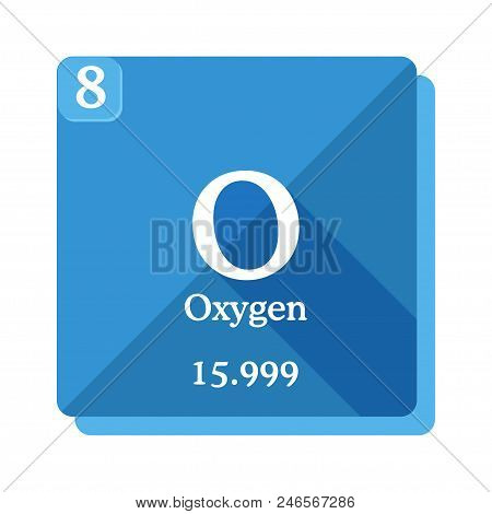 Oxygen Chemical Element. Periodic Table Of The Elements. Oxygen Icon On Blue Background. Vector Illu
