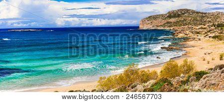 Impressive view of wild part Falasarna beach. beautiful beaches of Crete island. Greece