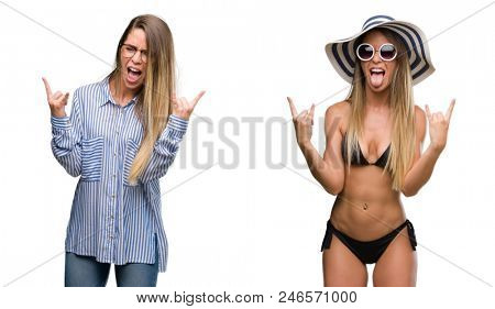 Young beautiful blonde woman wearing business and bikini outfits shouting with crazy expression doing rock symbol with hands up. Music star. Heavy concept.