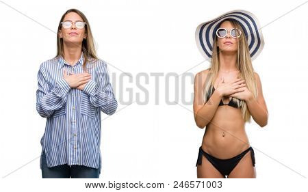 Young beautiful blonde woman wearing business and bikini outfits smiling with hands on chest with closed eyes and grateful gesture on face. Health concept.