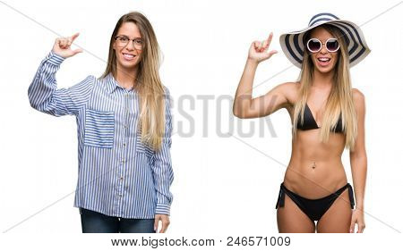 Young beautiful blonde woman wearing business and bikini outfits smiling and confident gesturing with hand doing size sign with fingers while looking and the camera. Measure concept.
