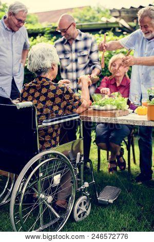Diverse elderly's party