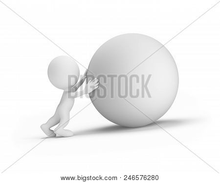 Man Pushes The Orb Up The Hill. 3d Image. White Background.