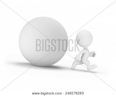 Man Quickly Running Away From The Orb. 3d Image. White Background.