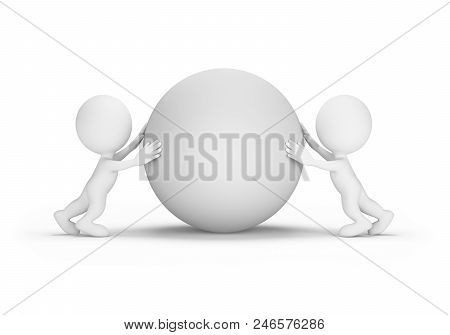 Two People Push The Orb Towards Each Other. 3d Image. White Background.