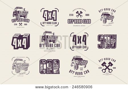 Stock Vector Set Of Off-road Club Emblems. Sticker Design For Your Car Or T-shirt. Isolated On White