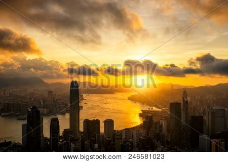Aerial view of Hong Kong City skyline at sunrise. View from The Peak Hongkong. poster