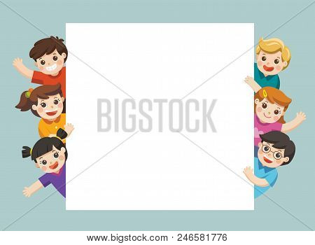 Children Looking At Blank Sign With Copy Space. Template For Advertising Brochure.