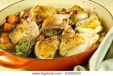 coq au vin cooking