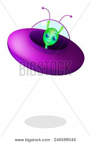 Green Alien With Flying Saucer On White Background. Little Green Man From Mars With Purple Saucer. E