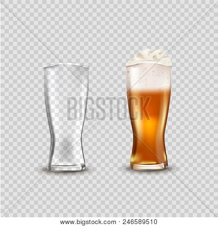 Glass Cup With Beer, Ads Soap Beer Attractive Beer Mockup In 3d Template