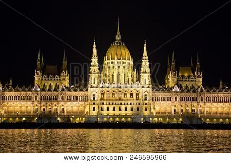 Parliament Building And River Danube At Night, Budapest, Hungary