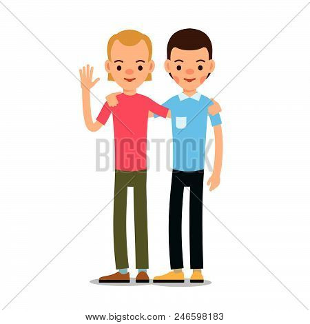 Young Man Cartoon Illustration Isolated On White Background In Flat Style. Guy Standing And Welcomes
