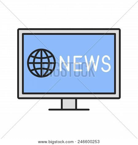 Tv News Color Icon. Newscast. Isolated Vector Illustration