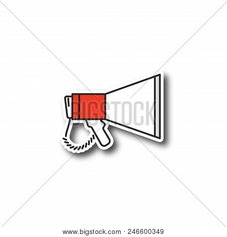 Megaphone Patch. Breaking News. Announcement. Bullhorn. Color Sticker. Vector Isolated Illustration