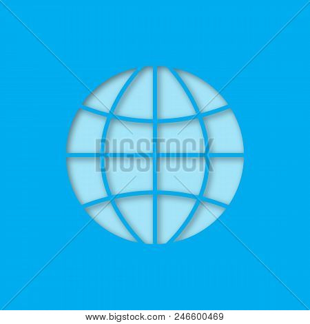 Globe Paper Cut Out Icon. Www Sign. Earth. Vector Silhouette Isolated Illustration