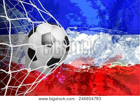 Soccer Ball In The Net With Flag Yugoslavia Vector Illustration Of Modern Template Design, Abstract