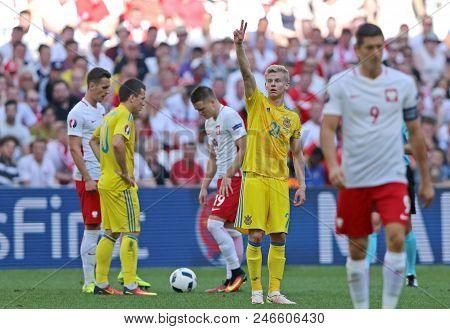 Marseille, France - June 21, 2016: Olexandr Zinchenko Of Ukraine Raised His Hand During The Uefa Eur