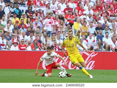 Marseille, France - June 21, 2016: Andriy Yarmolenko Of Ukraine (r) And Bartosz Kapustka Of Poland I