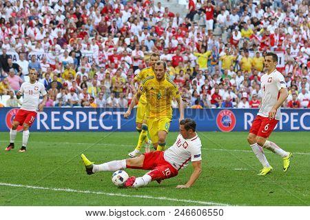 Marseille, France - June 21, 2016: Grzegorz Krychowiak Of Poland (#10) In Action During The Uefa Eur