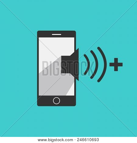Volume Up Mobile Phone Icon Vector In Modern Flat Style For Web, Graphic And Mobile Design. Mobile P