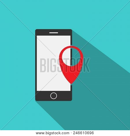 Gps Pointer Mobile Phone Icon Vector In Modern Flat Style For Web, Graphic And Mobile Design. Mobile
