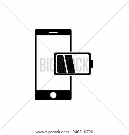 Mobile Phone Low Battery Charge. Mobile Phone Icon Vector In Modern Flat Style For Web, Graphic And