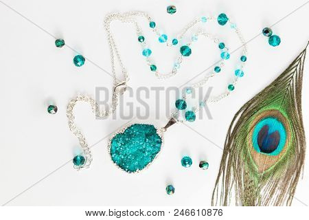 Beautiful Handmade Silver Necklace With Crystals And Druse Turquoise Gemstone Agate, Lying Flat On T