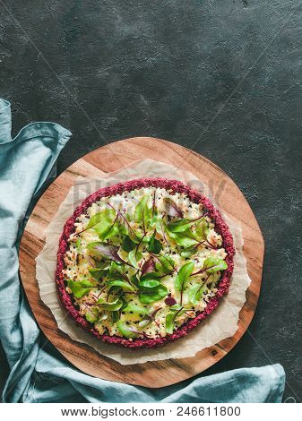 Beetroot Pizza Crust With Fresh Swiss Chard Or Mangold Beetroot Leaves.ideas And Recipes For Healthy