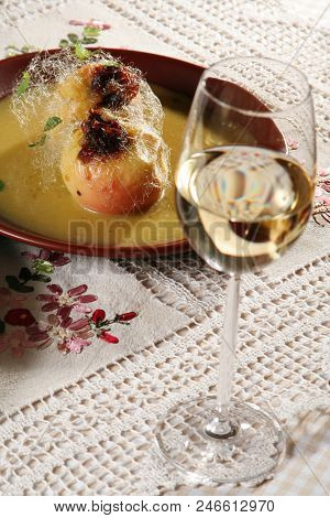 Baked Apple In Sirup With Goblet Wine