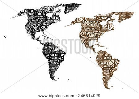 Sketch America Letter Text Continent, North And South America Word - In The Shape Of The Continent,