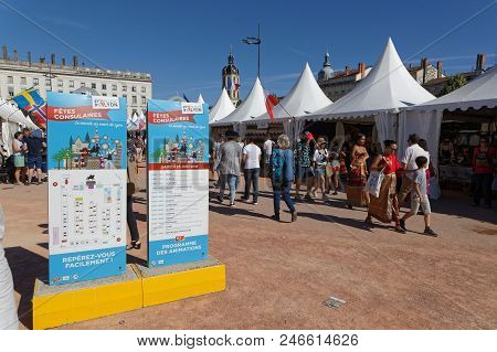 Lyon, France, June 23, 2018 : The Fetes Consulaires Stand On Place Bellecour Around Animations, Trad