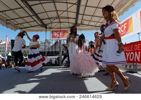 Lyon, France, June 23, 2018 : Dances From Domican Republic. The Fetes Consulaires Stand On Place Bel
