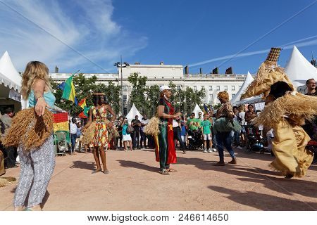 Lyon, France, June 23, 2018 : Dances From Gabonese. The Fetes Consulaires Stand On Place Bellecour A