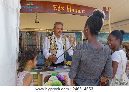 Lyon, France, June 23, 2018 : Ice Cream From Turkey. The Fetes Consulaires Stand On Place Bellecour