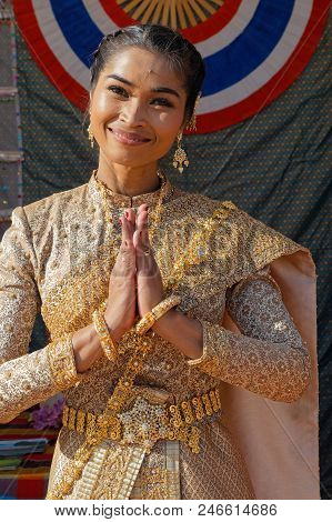 Lyon, France, June 23, 2018 : Smile From Thailand. The Fetes Consulaires Stand On Place Bellecour Ar