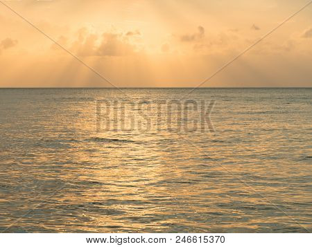 Sunset Background. Inspirational Nature Calm Sea Reflect With Beautiful Sky Twilight Evening Golden