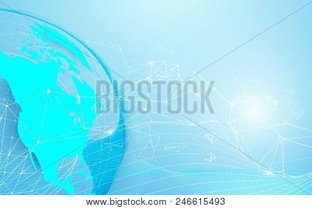 Global And World Map With Lines And Triangles, Point Connecting Network On Blue Background. Illustra